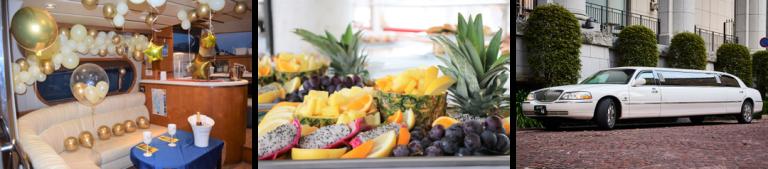 バルーン装飾、フルーツ盛り合わせ、リムジンのオプション紹介写真