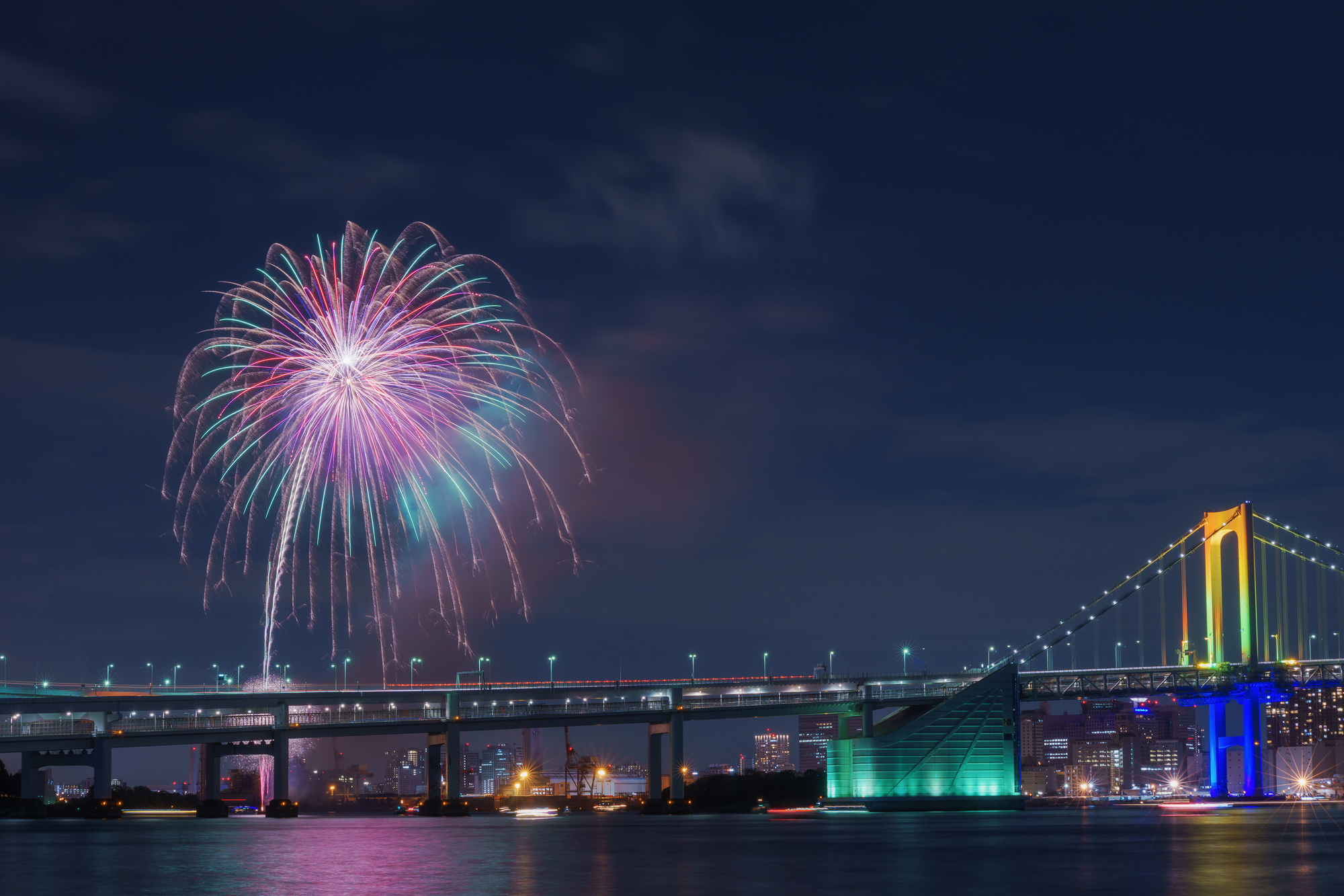 花火とレインボーブリッジ