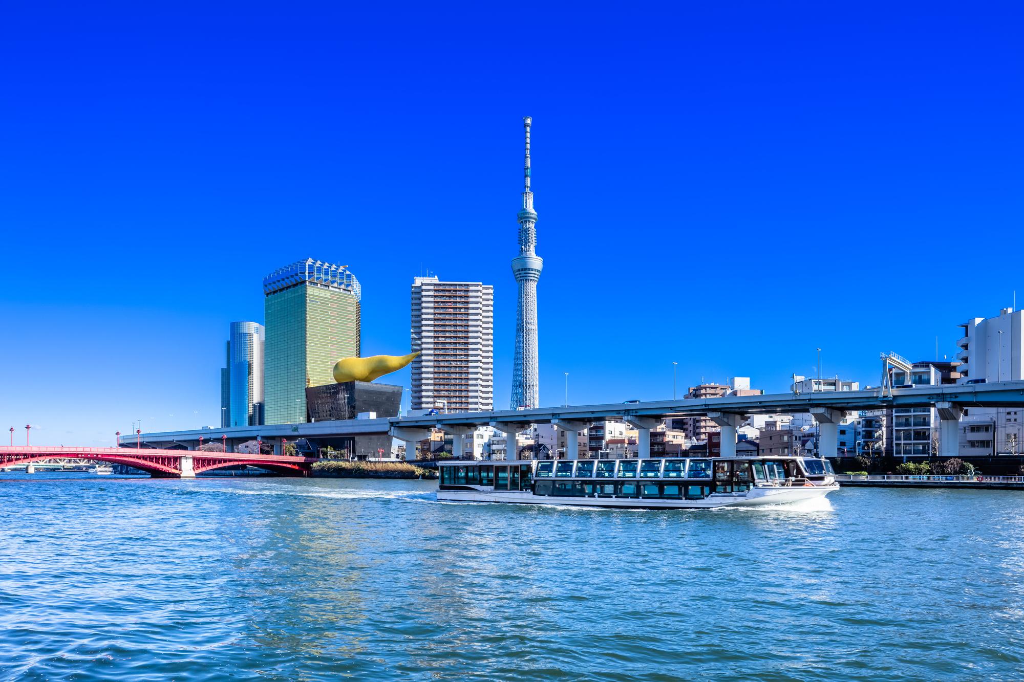 隅田川の運航クルーズとスカイツリー