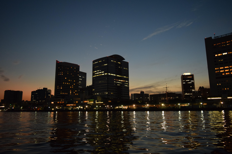 海から眺めた夜景