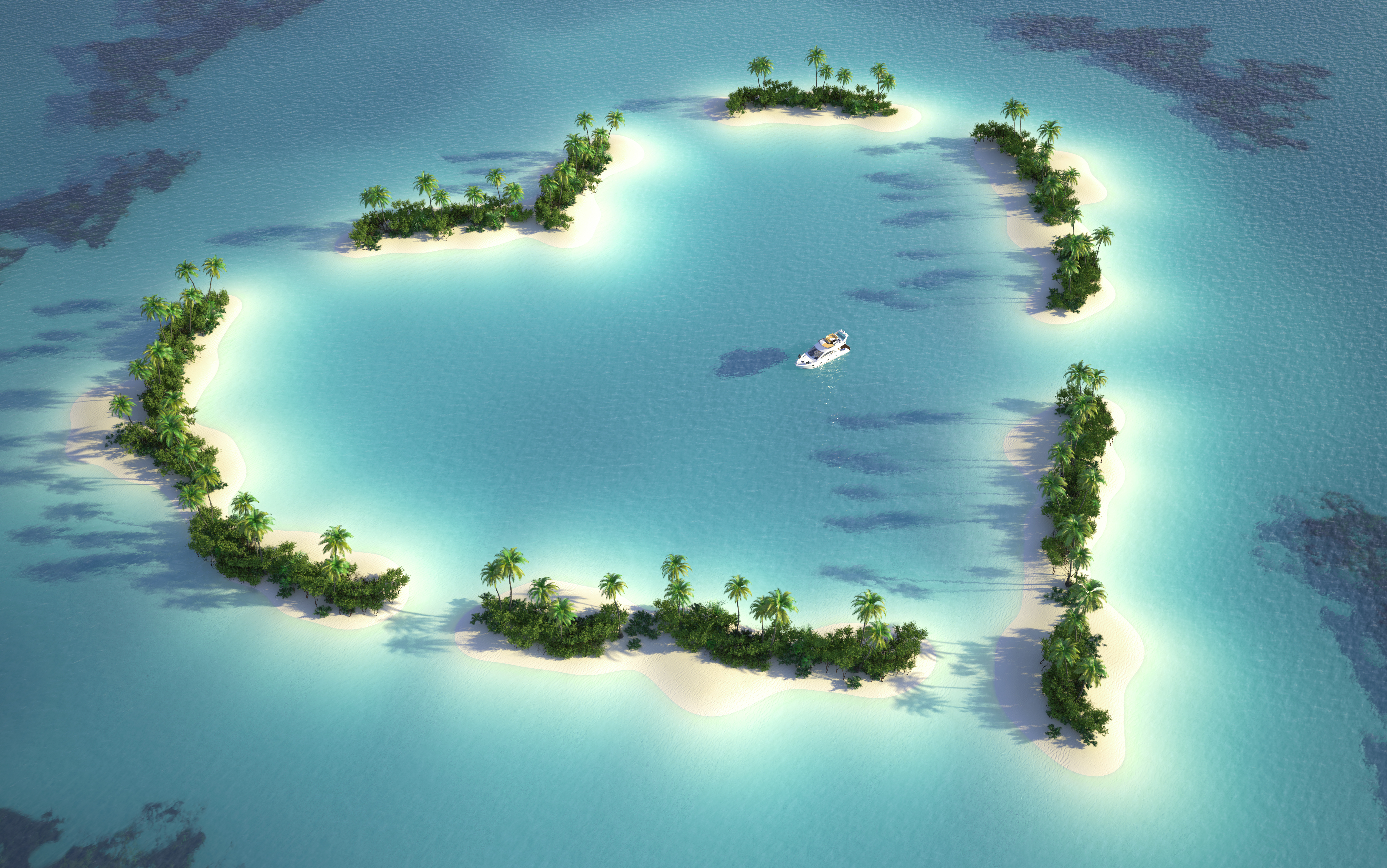 ハート型に型どられた島