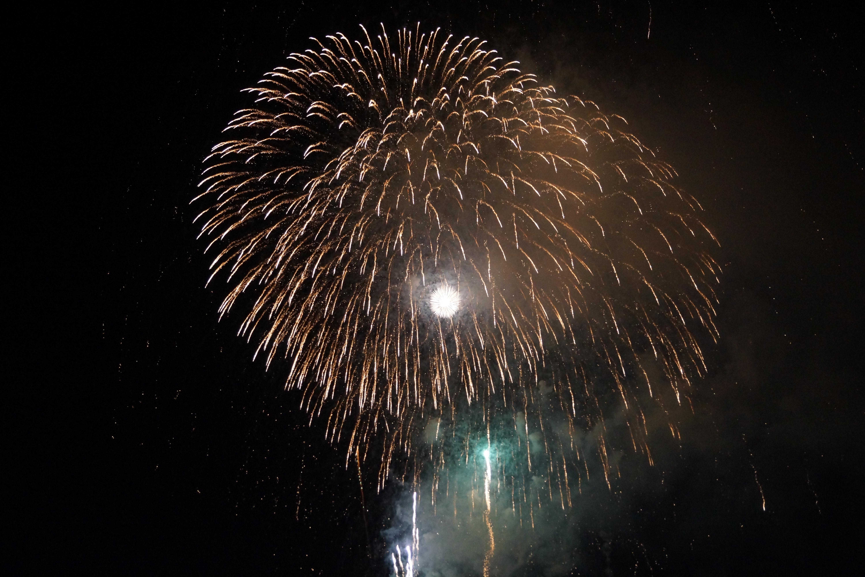 夜空に大きく打ちあがる花火
