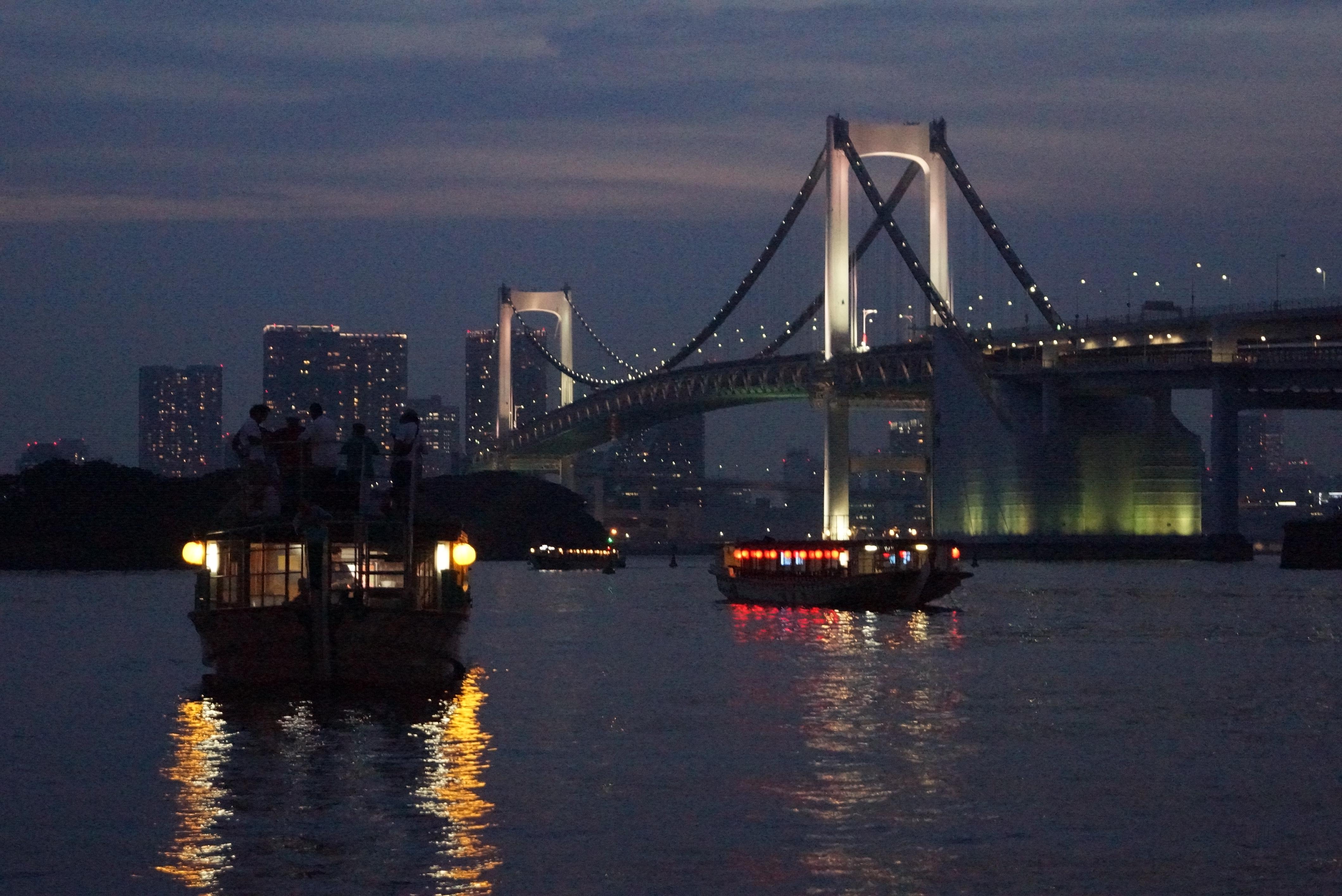 ライトアップされた橋と水辺に浮いている船