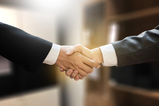 握手をしている2人の手