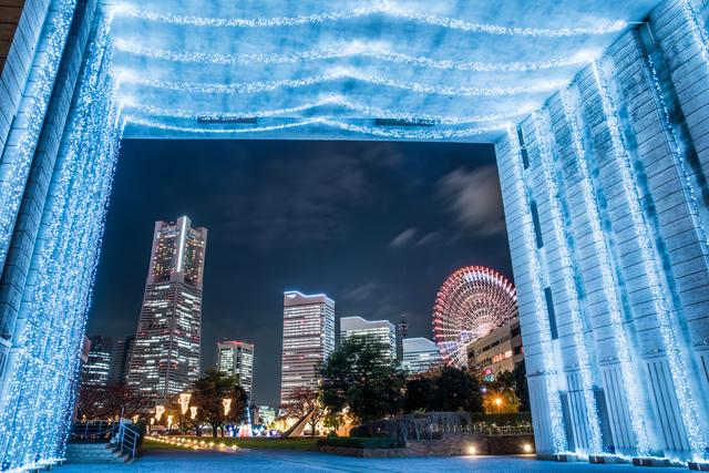 横浜のイルミネーションと夜景