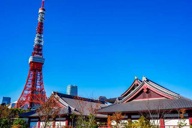 神社から見える東京タワー