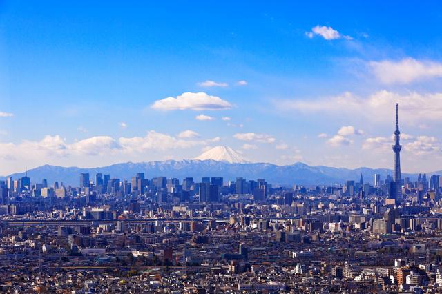 東京の街越しに見える富士山