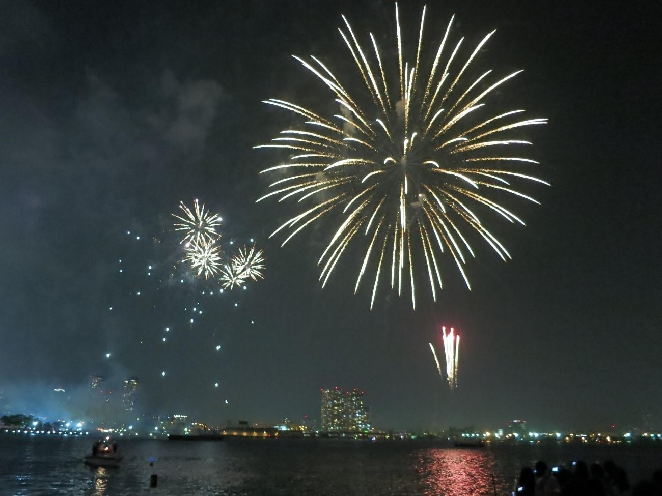 船上から眺める夜景と花火大会の風景