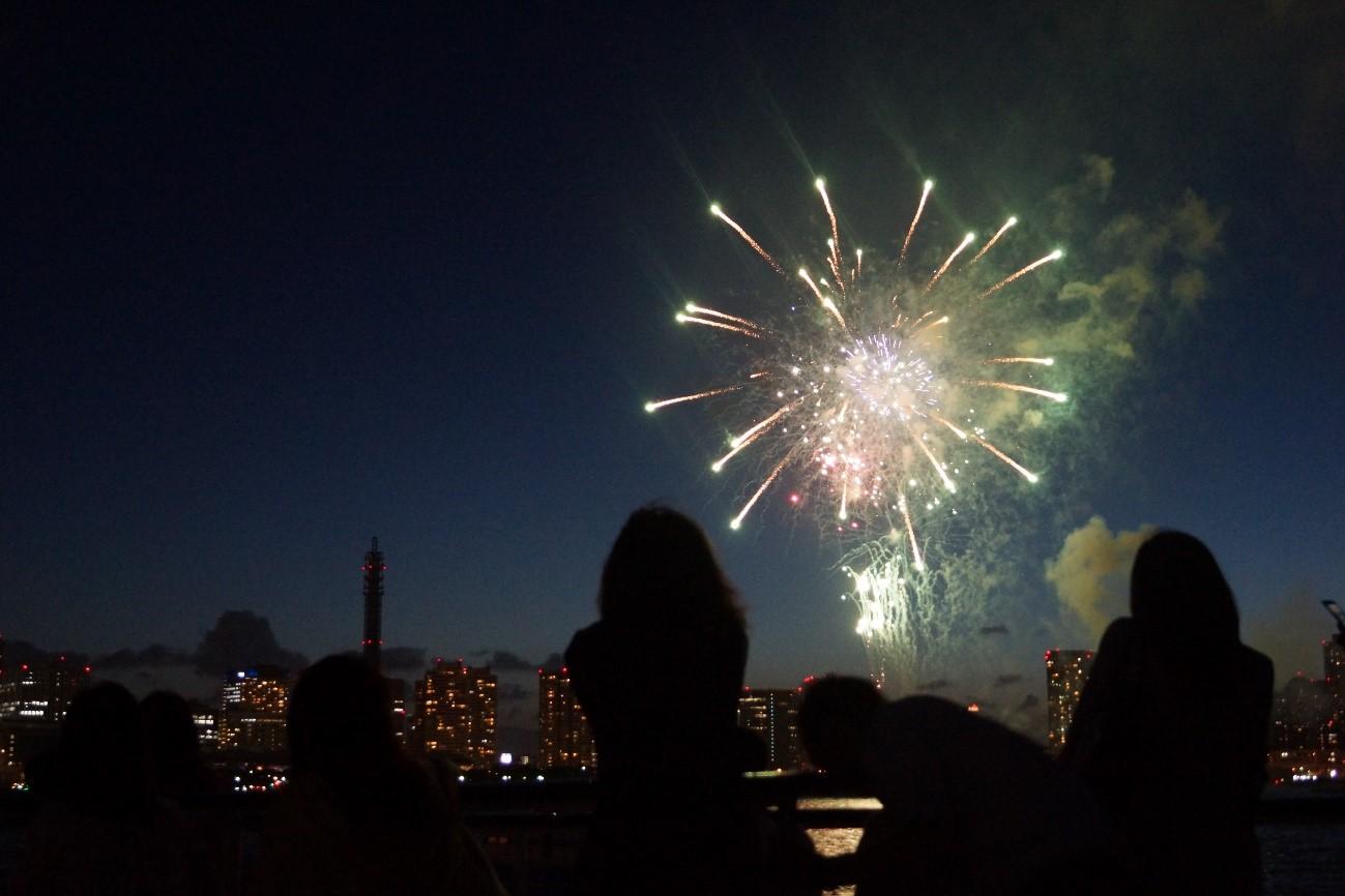 夜空に咲き開く花火を見物している風景