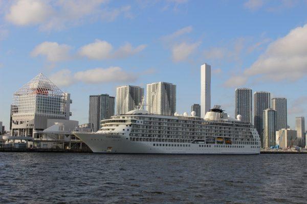 巨大客船が港に停泊している風景