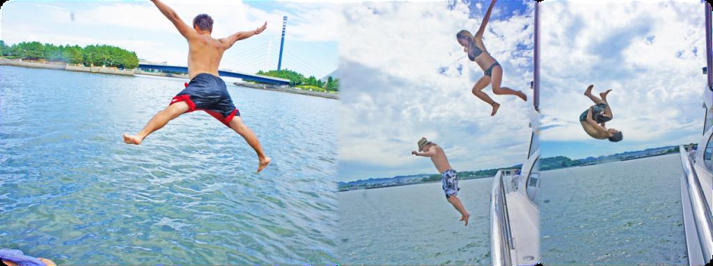 海へ飛び込む男女