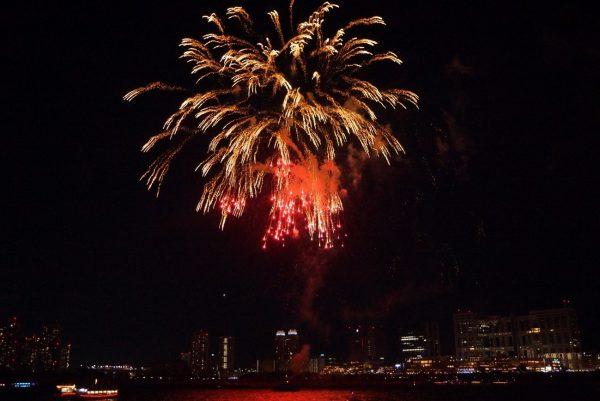 船上から眺める夜空に打ち上がる花火