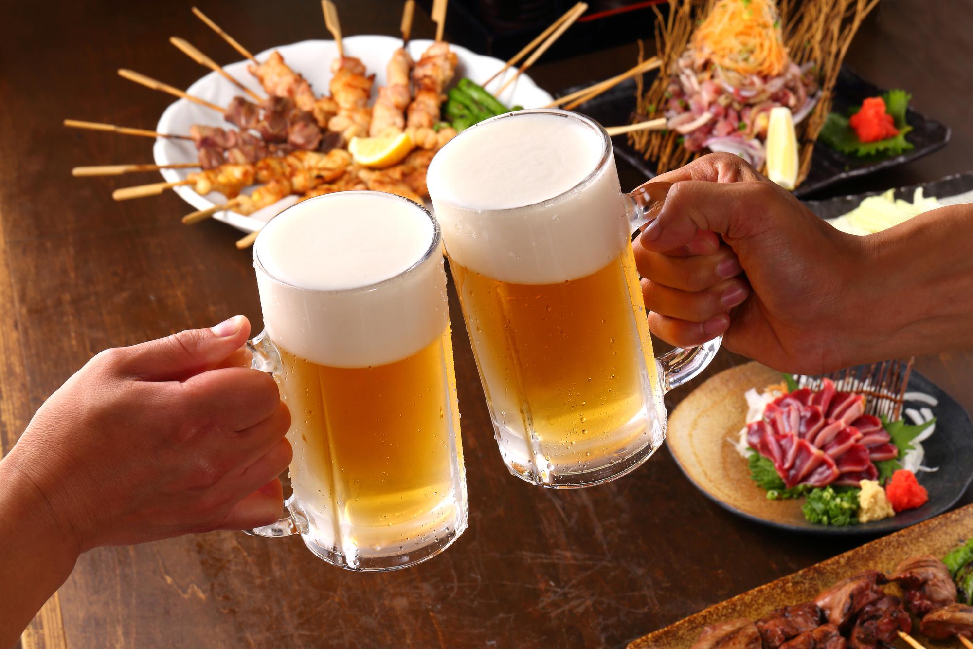 ビールが二つで乾杯