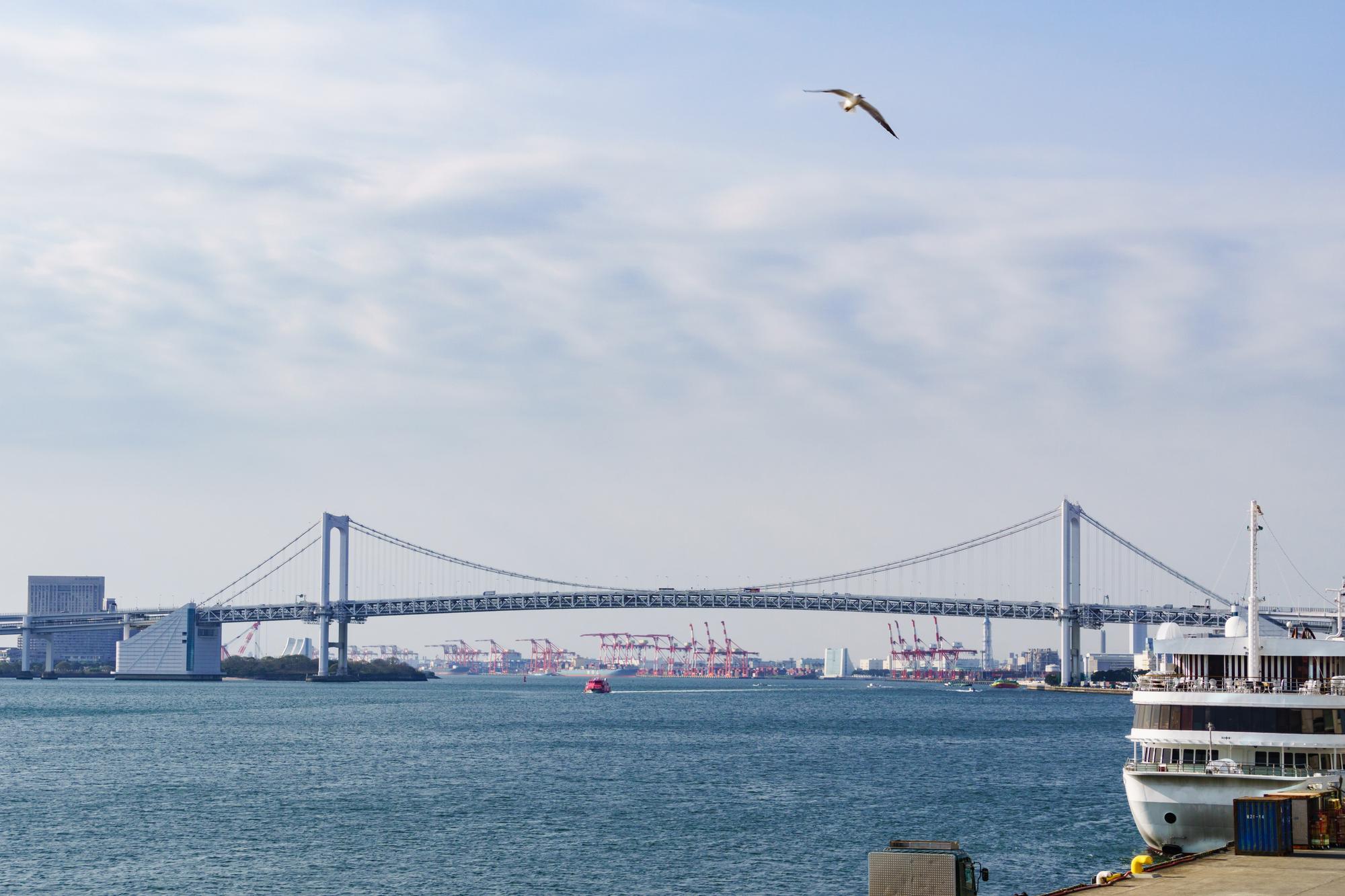 船着場から眺めるレインボーブリッジ