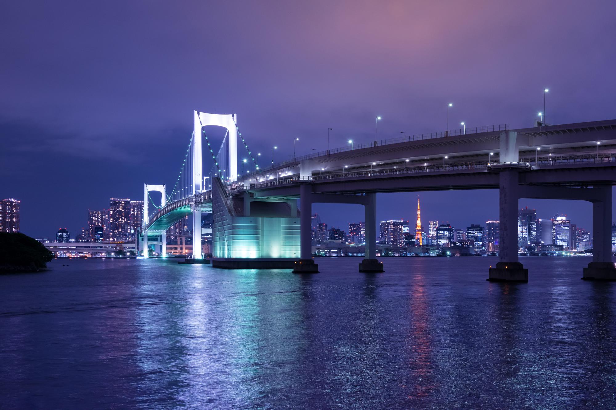 レインボーブリッジや東京タワーの夜景