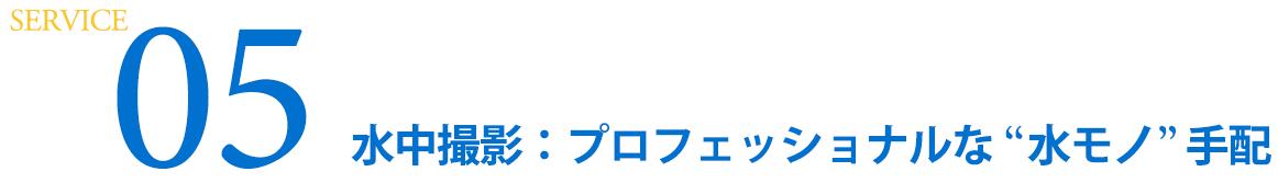 """SERVICE 05  水中撮影:プロフェッショナルな""""水モノ""""手配"""